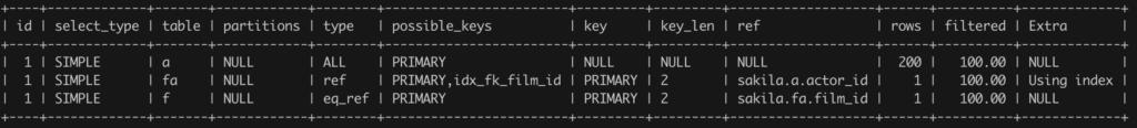 MySQL実行計画(EXPLAIN)例