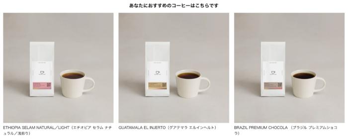 tailored cafe コーヒー診断結果